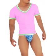 Icker Sea Contrast Trim V Neck Short Sleeved T Shirt Pink/Green CA-16-23