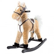 Happy Trails Rocking Horse Plush Animal on Wooden Rockers with Sounds, Stirrups, Saddle & Reins, Ride on Toy, Toddlers to 4 Years Old by Brown