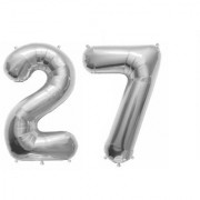 De-Ultimate Solid Silver Color 2 Digit Number (27) 3d Foil Balloon for Birthday Celebration Anniversary Parties