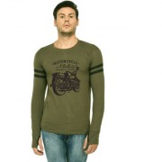 TRENDS TOWER Full Sleeve Round Neck Thumb Ring Mens T-Shirt Olive-Green Color Motor Cycle Club Graphics Print