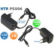 NTR PSU04 230V AC -> 12V DC 1A 12W kapcsolóüzemű tápegység 5,5x2,1mm DC dugóval