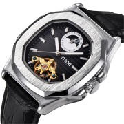 Silver Case Business Style Leather Strap Mechanical Watches