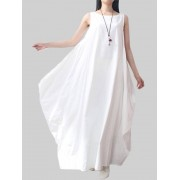 Meco Asymmetrical Solid Color Sleeveless Pocket Women Loose Linen Dresses