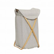 Hübsch Koš na prádlo Bamboo, černobílý, 39x46x66 cm