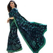Indian Style Sarees New Arrivals Women's Blue Color Georgette Printed Saree With Blouse Bollywood Latest Designer Saree