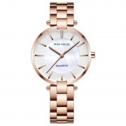MINI FOCUS Quartz Women Watches Stainless Steel Strap Ladies Waterproof Business Wristwatches 0224L - Rose Gold