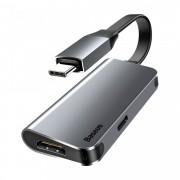 Adaptor Baseus Little Box, de la USB-C la HDMI + port USB-C , gri
