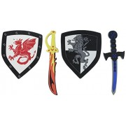 Children s Foam Toy Medieval Joust Dual Dragon Sword Shield Knights Set Lightweight Safe for Birthday Party Activities Event Favors Toy Gifts by Super Z Outlet