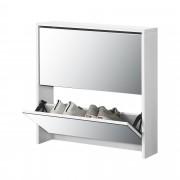 Шкаф за обувки [en.casa]®, Бял, с огледало, 67 x 63 x 17cm