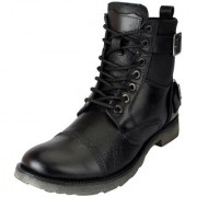 Fausto Men's Black High Ankle Leather Boots