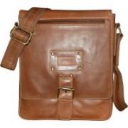 Kan Brown Genuine Leather Shoulder Bag/Small Travel Bag For Men and Women Small Travel Bag - Medium(Brown)