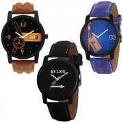 Jack Klein Combo of Stylish 3 Different Edition Analogue Quartz Watches