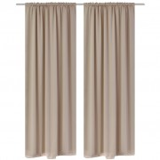 vidaXL 2 pcs Cream Slot-Headed Blackout Curtains 135 x 245 cm