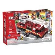 2 Item Bundle: Brictek Fire Engine With Sound And Light 240 Pcs Building Kit + FREE Melissa & Doug Scratch Art Mini-Pad Bundle