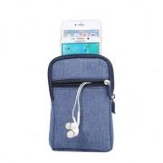 GadgetBay Sac de téléphone portefeuille denim Sac de sport de survie à 3 compartiments - Blue Carabiner