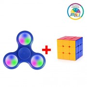 Smiles Creation™ Fidget Spinner with Light Hand Spinner Ultra Speed Tri-Spinner with Cube Toy for kids