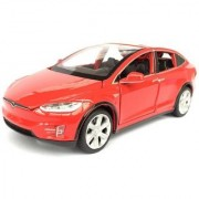 Emob Red 132 Die Cast Metal Body Tesla X 90D SUV Pull Back Car Toy with Light and Sound Effects (Multicolor)