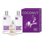 BK Brazil Keratin Coconut pro poškozené vlasy šampon 300 ml kondicionér 300 ml olej / sérum 100 ml dárková sada