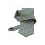 Cravata verde cu dungi albe si albastre