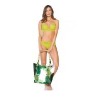 Geanta dama Cosita Linda verde de plaja cu imprimeuri florale cu doua manere de lungime medie