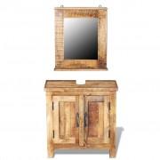 vidaXL Dulap de chiuvetă cu oglindă din lemn masiv de mango