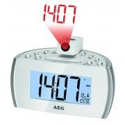 AEG MRC 4119 P- Radio despertador con proyector, indicador de temperatura, color blanco