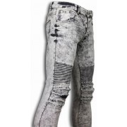 New Stone Exclusieve Ripped Jeans - Slim Fit Biker Jeans Lined Knee Pads - Licht Grijs