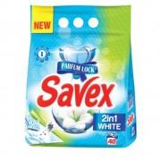 Detergent Pudra Automat de Rufe SAVEX 2 in 1 White, Cantitate 4 Kg, 40 Spalari, Parfum Floral, Detergent Automat pentru Haine Albe, Detergenti Pudra pentru Haine Albe, Solutii Curatare a Hainelor Albe