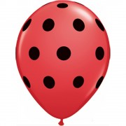 Baloane latex 5''/13cm rosii - Big Polka Dots, Qualatex 26153