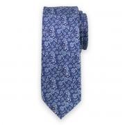 Keskeny nyakkendő sötétkék színben virágos mintával 11134