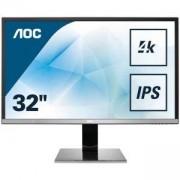 Монитор AOC U3277PWQU 31.5 инча LCD, WIDE, AMVA, VGA, DVI, HDMI, MHL, Displatport, USB, speakers, 4K UHD, Черен - Сребрист, 12605
