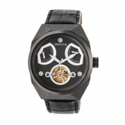 Heritor Automatic Oxford Semi-Skeleton Leather-Band Watch - Black/Charcoal HERHR5507