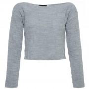 ComeGetFashion Trui gebreid cropped grijs- Truien & Sweaters