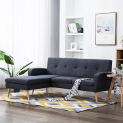 vidaXL Ъглов диван, тапицерия от текстил, 186x136x79 см, тъмносив