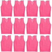 SAS Sports Bibs for Match Practice Training in Pink - Pack of 12 Scrimmage Vests Medium size For Unisex