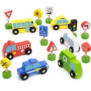 Toy Playset, 15pcs Busy City Wooden Street Signs Work Cars Kids Toys Playsets