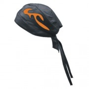 DBE Solid Genuine Leather Flame Skull Hat Black/Orange DBE3237