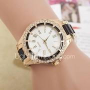 Dames Modieus horloge Gesimuleerd Diamant Horloge Kwarts imitatie Diamond Metaal Band Zwart Wit Blauw Rood