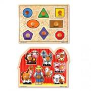 Melissa & Doug Large Shapes and Large Farm Wooden Jumbo Knob Puzzle Bundle