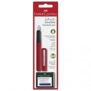 Faber-Castell Penna Stilografica Scolastica Fusto Colore Rosso Con 6 Cartucce Inchiostro Blu Ricambio In Dotazione