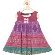 yellow Duck Pink Cotton Sleeveless Printed Mid Thigh Length Casual A- Line Dress For Girls