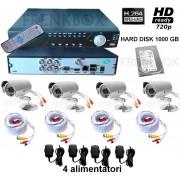 Kit videosorveglianza IP DVR Cloud HDMI 1000gb 4 canali Telecamere 1200TVL 49Led