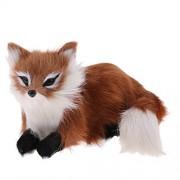Phenovo Adorable Animated Lying Fox Stuffed Animal Pet Plush Figurine Model Soft Toy Kids Gift Home Decor