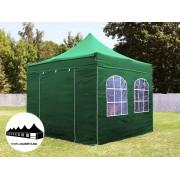 3x3m összecsukható pavilon ablakos zöld Prémium (Premium)