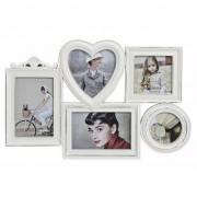 Merkloos Collage fotolijst white wash 5 fotos