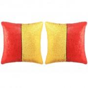 vidaXL 2 db flitteres párna 45 x 45 cm piros/arany