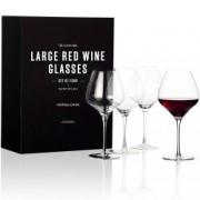 Set cadou 4 pahare XL din cristal pentru vin rosu Illustro,840ml Andrew James AJ001427