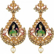 Asmitta Padmaavat Styled Pear Shape LCT Stone Gold plated Dangle Earring For Women