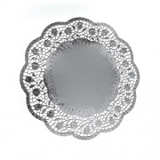 Dekoračné krajky okrúhle, strieborné Ø 32 cm [4 ks]