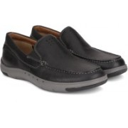 Clarks Unmaslow Easy Black Leather Boat Shoes For Men(Black)